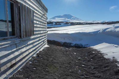 Scott's Terra Nova Hut with Mount Erebus in the background