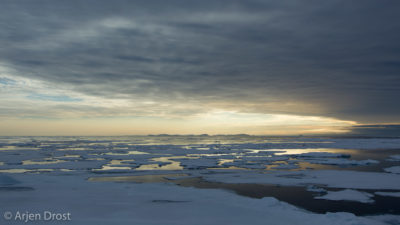Beautiful light over the pack ice north of Nordaustlandet, Spitsbergen
